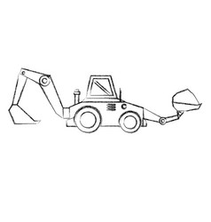 Excavator construction isolated icon vector