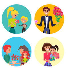 family members with presents on womens day set vector image
