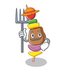 Farmer barbecue character cartoon style vector