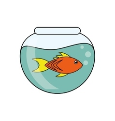Fish animal cartoon inisde bowl design vector