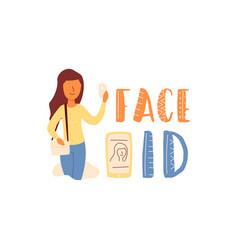 Flat banner lettering girl holds smartphone vector