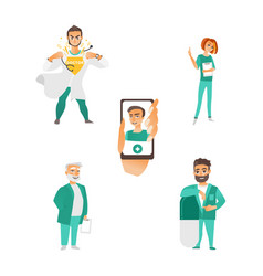 flat doctor nurse surgeon characters set vector image