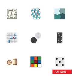 flat icon play set of chequer bones game vector image