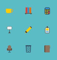 flat icons trash basket identification bookshop vector image