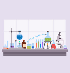 flat science laboratory experiment with glass vector image