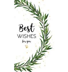 Floral greeting card design eucalyptus green vector