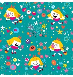Flower girl pattern vector