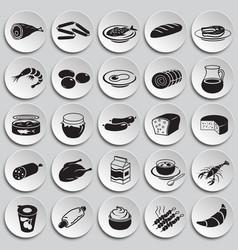 food set on plates background vector image