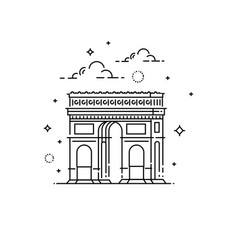 France paris triumphal arch icon vector