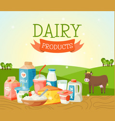 fresh dairy products concept banner poster vector image