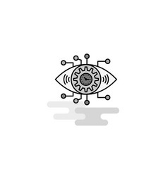 gear eye web icon flat line filled gray icon vector image
