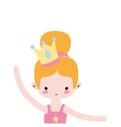 Girl practice ballet with bun hair and crown vector