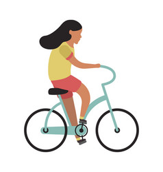 girl riding bicycle simple character cyclist vector image