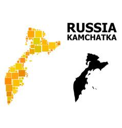 Golden square mosaic map kamchatka peninsula vector