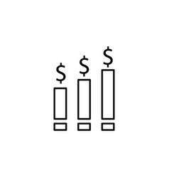 graph chart dollar icon element of finance signs vector image