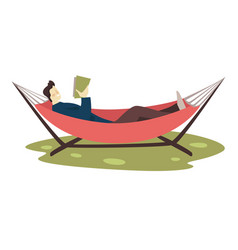 guy reading book in hammock leisure and education vector image