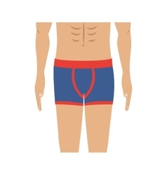 Half body men with blue swimming boxer vector