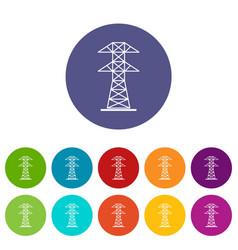 High voltage tower icons set flat vector