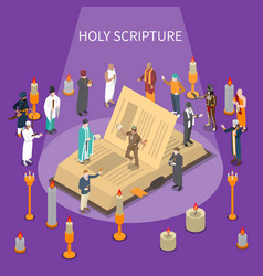 Holy scripture isometric composition vector