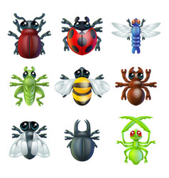 Insect bug icons vector
