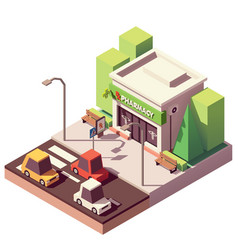 isometric pharmacy or drugstore vector image