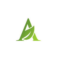 letter a leaf nature logo vector image