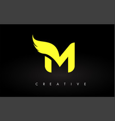 Letter m logo with yellow colors and wing design vector