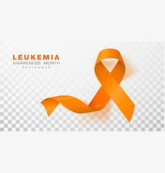 leukemia awareness month orange color ribbon vector image