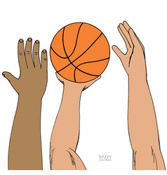 Male hands reaching for basket ball strugglng for vector