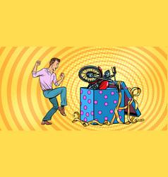 man and motorcycle holiday gift box funny vector image