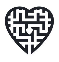 maze in heart shape vector image