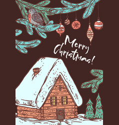 merry christmas greeting card with cottage vector image