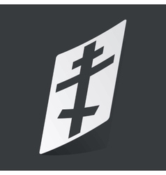 Monochrome orthodox cross sticker vector