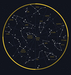 night sky with constellations vector image