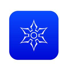 ninja shuriken star weapon icon digital blue vector image
