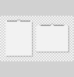 notebook or calendar with bound spiral mockup vector image