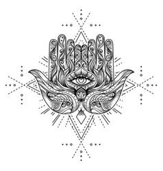 ornate hand drawn hamsa popular arabic and jewish vector image