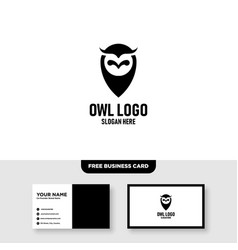 Owl logo template free business card mockup vector