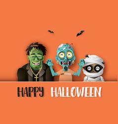 paper art of happy halloween vector image