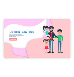 parent and children happy family web page vector image
