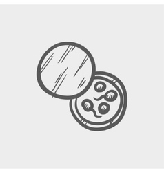 Petri dish with bacteria sketch icon vector