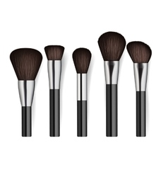 Realistic professional cosmetics brush set vector