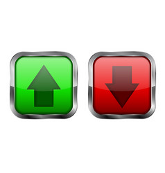 Red and green 3d buttons up and down icons vector