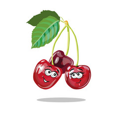 red cherry cartoon characters vector image