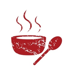 Red grunge soup logo vector image