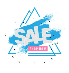 sale shop now triangle frame blue paint background vector image