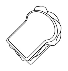 sandwich tasty food thin line vector image