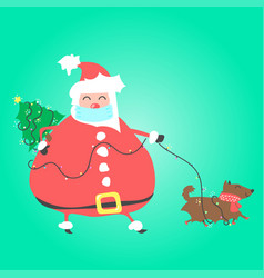 santa claus with medical mask walks dog and vector image
