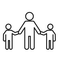 school children help senior man icon outline vector image