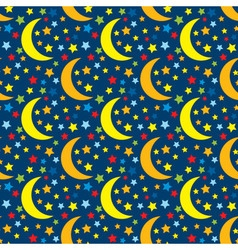 Seamless pattern with stars and moon vector